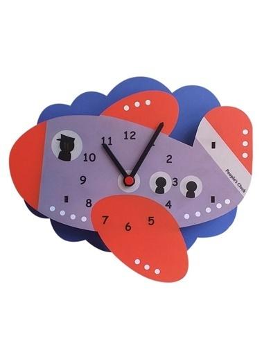 Peoples Clock Uçak Özel Tasarım Duvar Saati Renkli